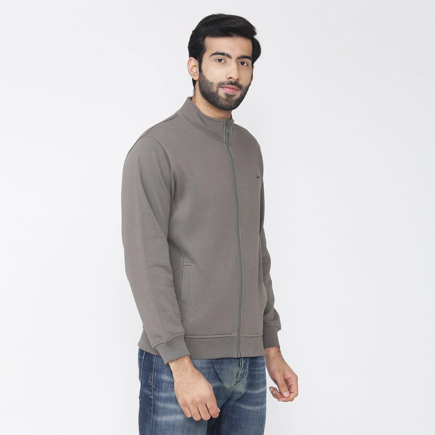 Men's Full Sleeve Plain Jacket - Dusty Olive