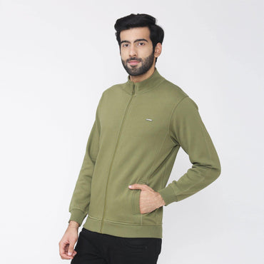 Men's Winter Wear Full Sleeve Plain Jacket - Olive