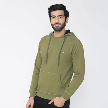 Men's Hooded Solid Sweatshirt- Avacado