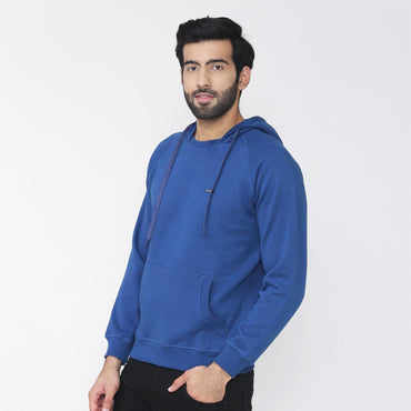Men's Hooded Solid Sweatshirt- Dark Blue