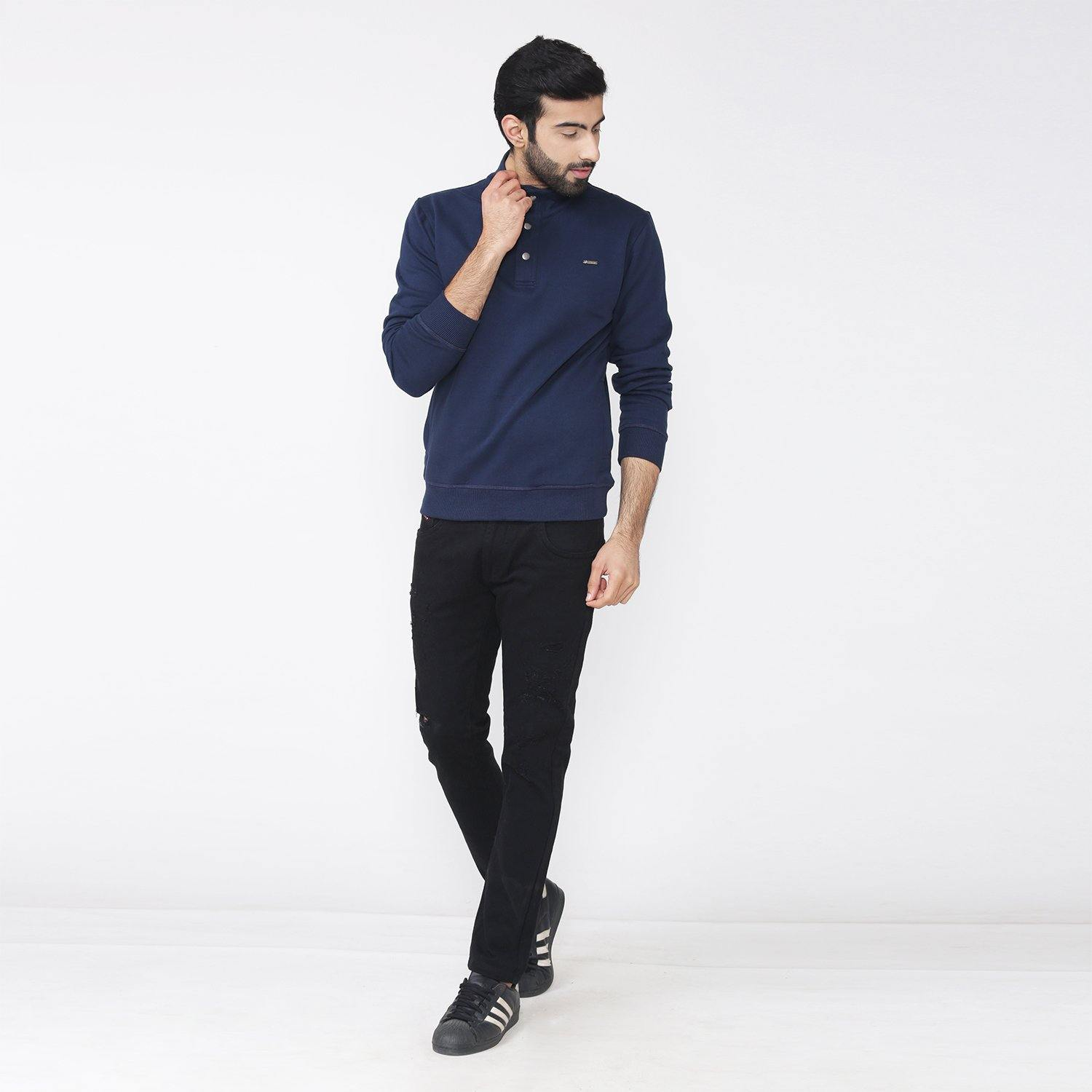 Men's Winter Wear Stylish Sweatshirt - Navy