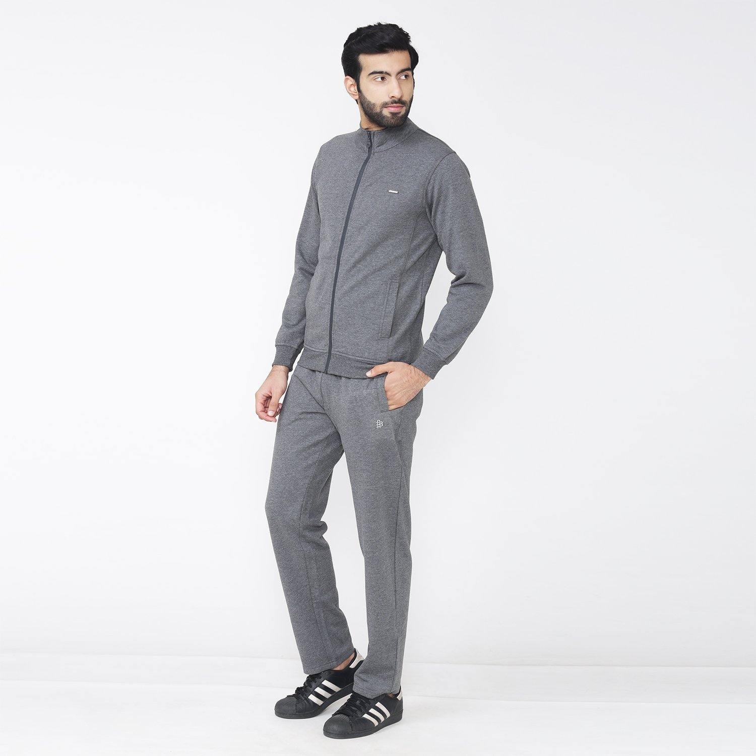 Casual Wear  Plain Track Suit For Men - Anthra