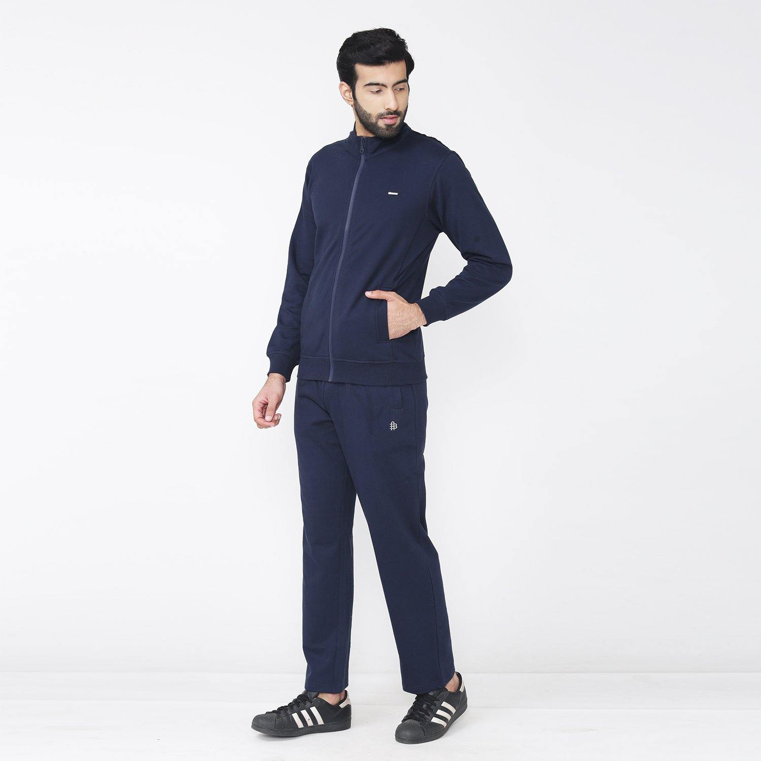 Men's Solid Casual Wear Track Suit - Navy