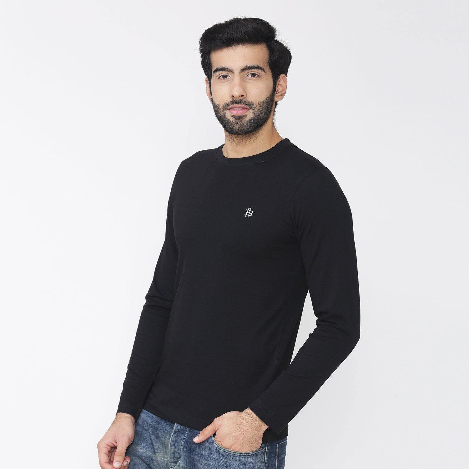 Men's Full Sleeve Round Neck T-Shirt - Black