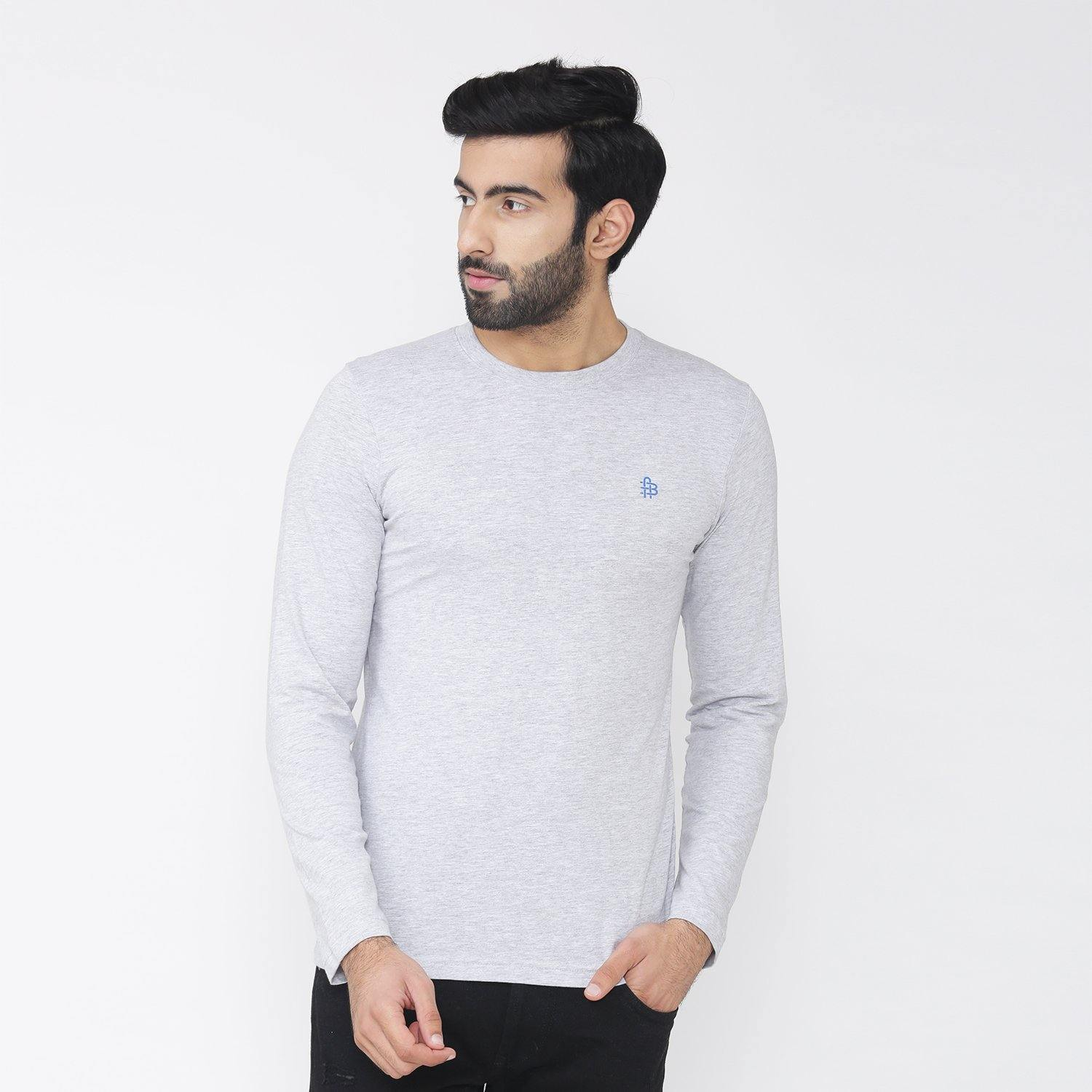 Men's Full Sleeve Round Neck T-Shirt - Light Grey