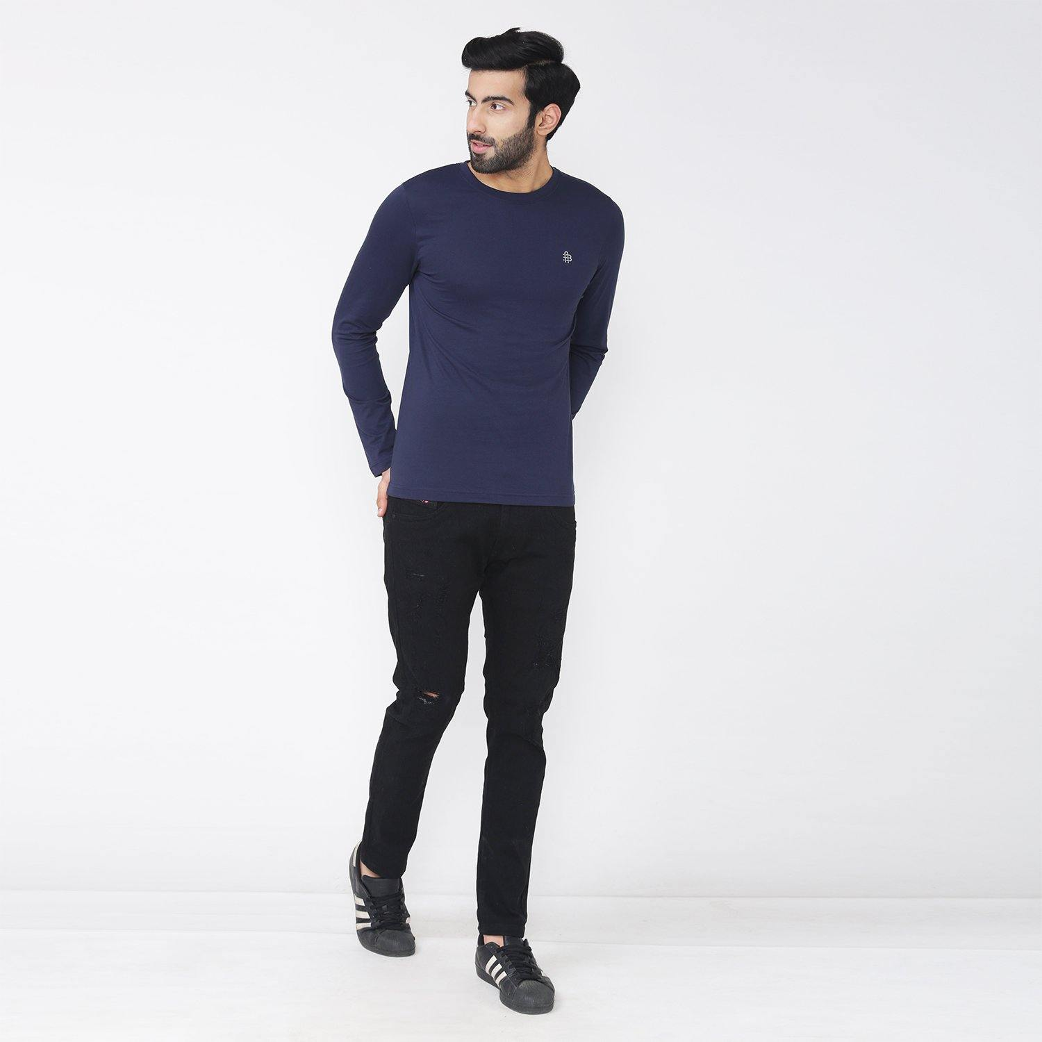 Men's Full Sleeve Round Neck T-Shirt - Navy