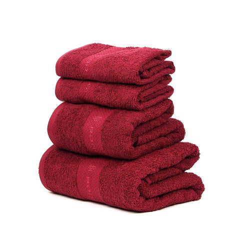 Maroon Towel Set For Family-Pack Of 4