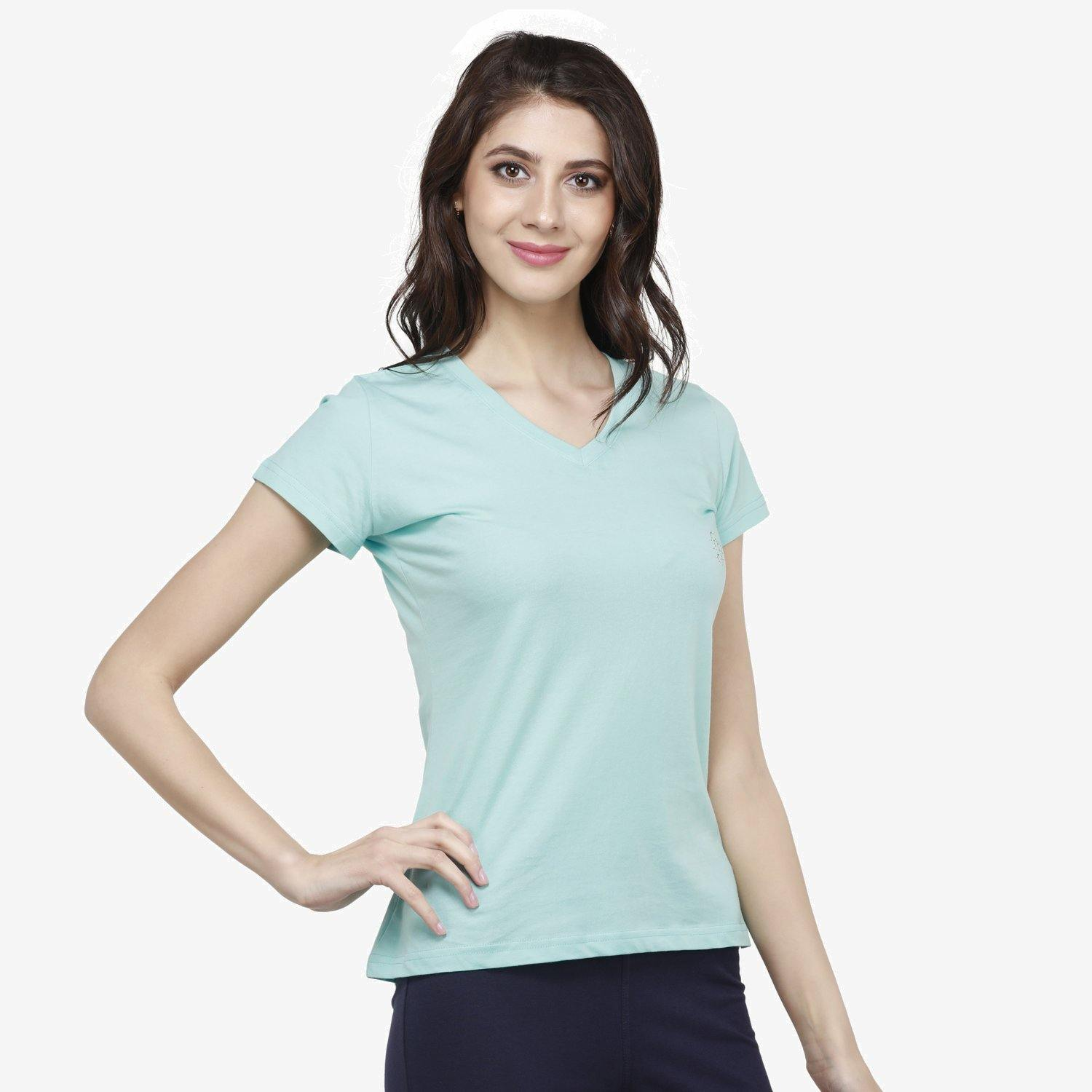 Women's Stylish V- Neck Casual Half Sleeve T-shirt