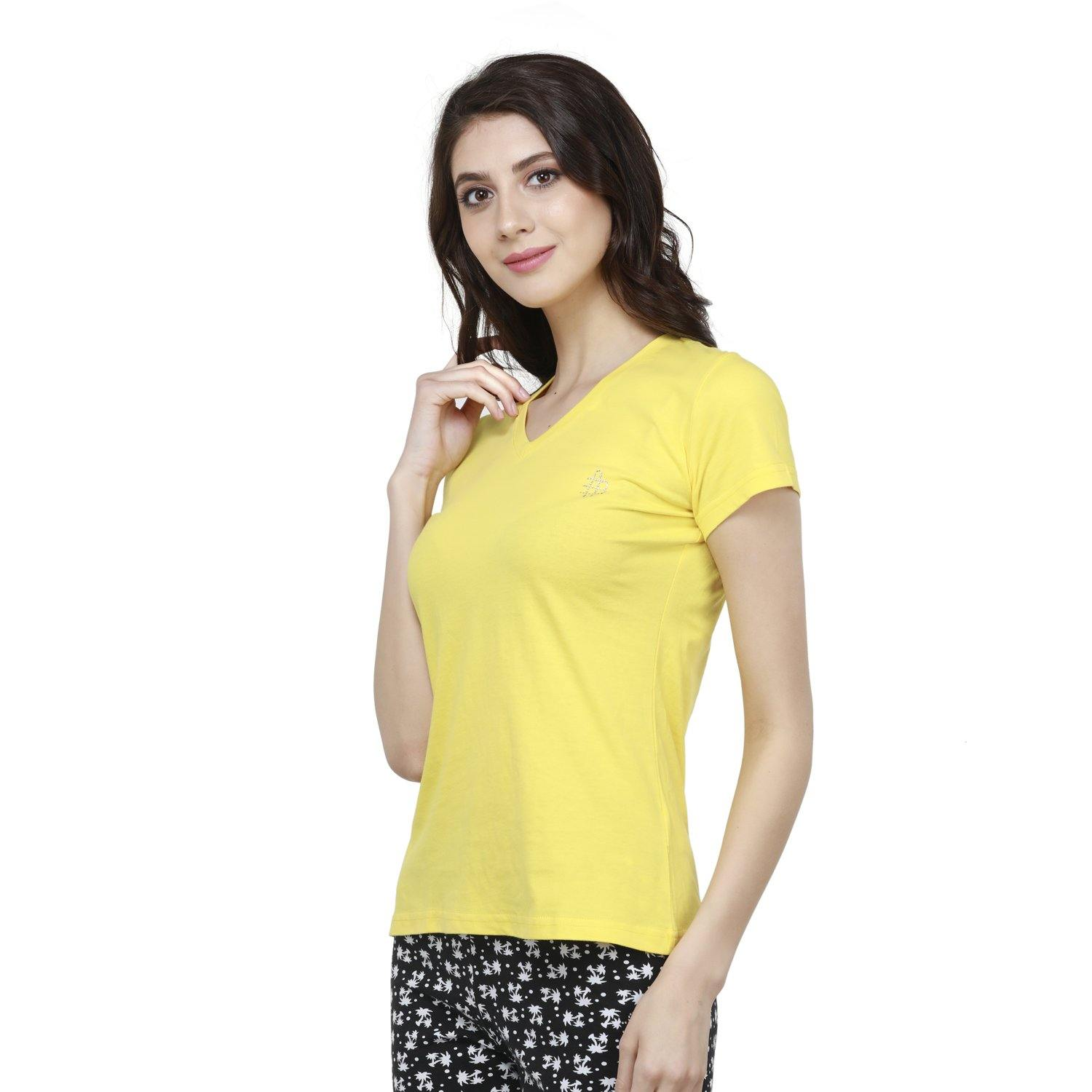 Women's V- Neck  Half Sleeve T-Shirt - Primrose Yellow