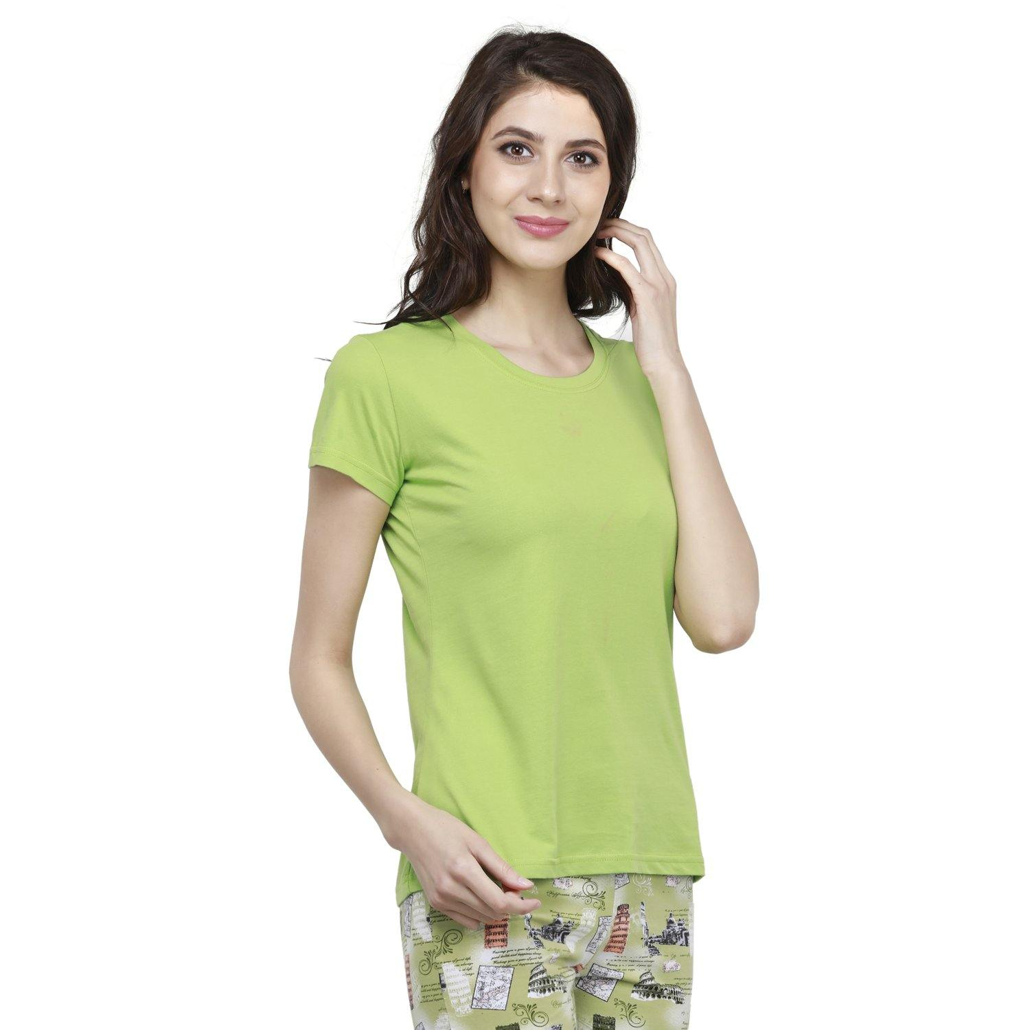 Casual Half Sleeve Women's T-Shirt For Summer - Greenery