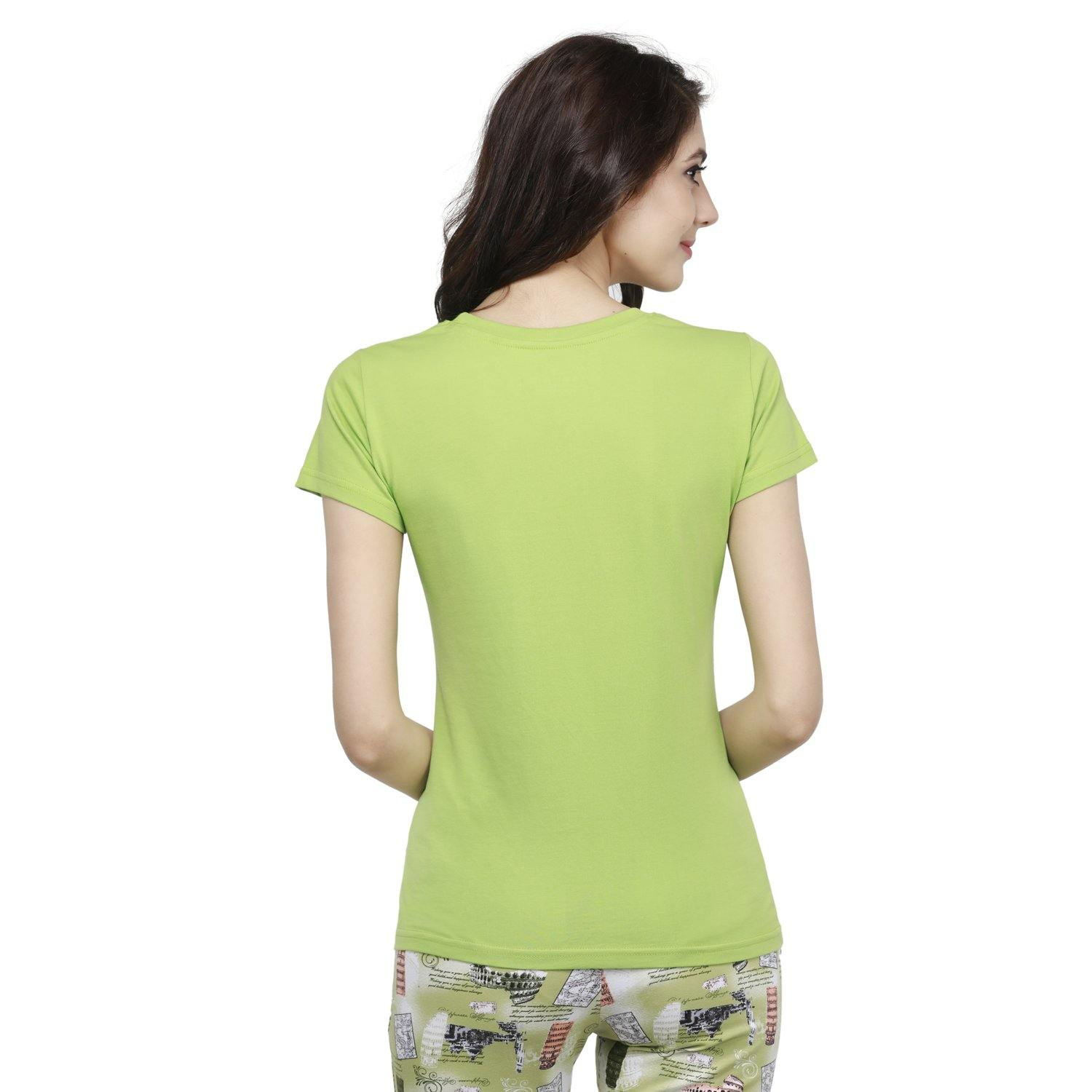 Casual Half Sleeve Women's T-Shirt For Summer - Greenery - Bonjour Group