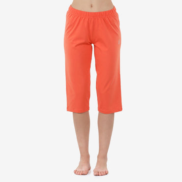 Women's Plain Knitted Capri for Summer -  Persimmon