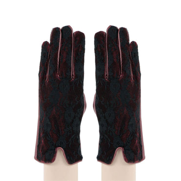 Women 's Leather Self Design Gloves For Winters