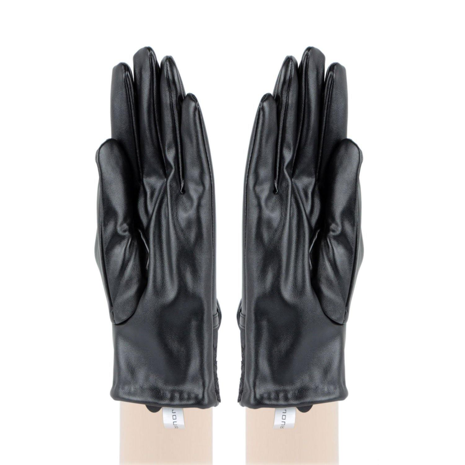 Women's Leather Plain Gloves For Winters With Bow on Palm