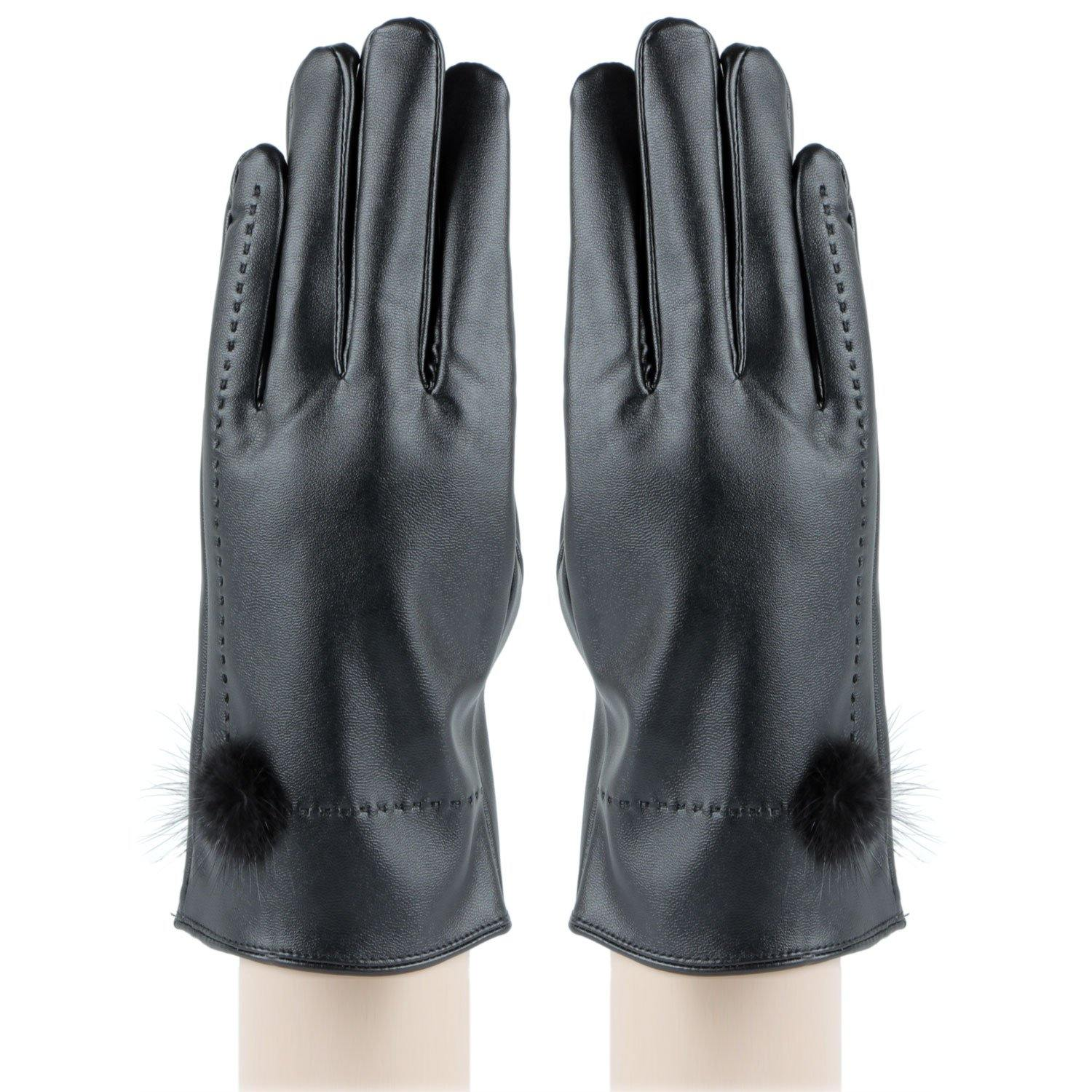 PU Leather Solid Protective Women's Gloves