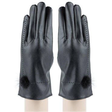 PU Leather Gloves Solid Protective Women's Gloves