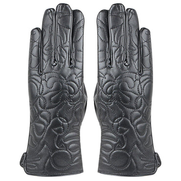 Women's  Leather Self Design Gloves For Winters