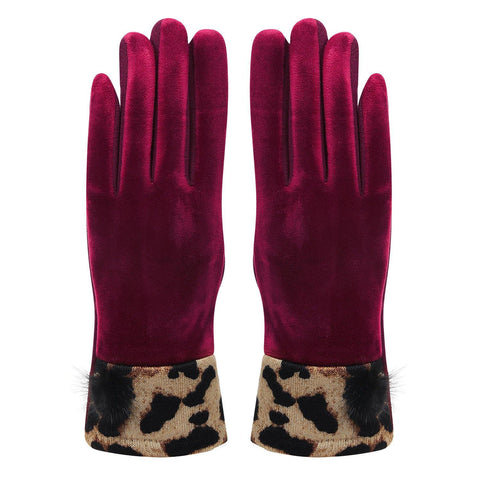 Leopard Print Winter Gloves For Women - Maroon