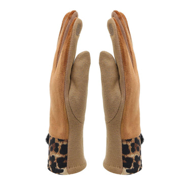 Leopard Print Winter Gloves For Women - Brown