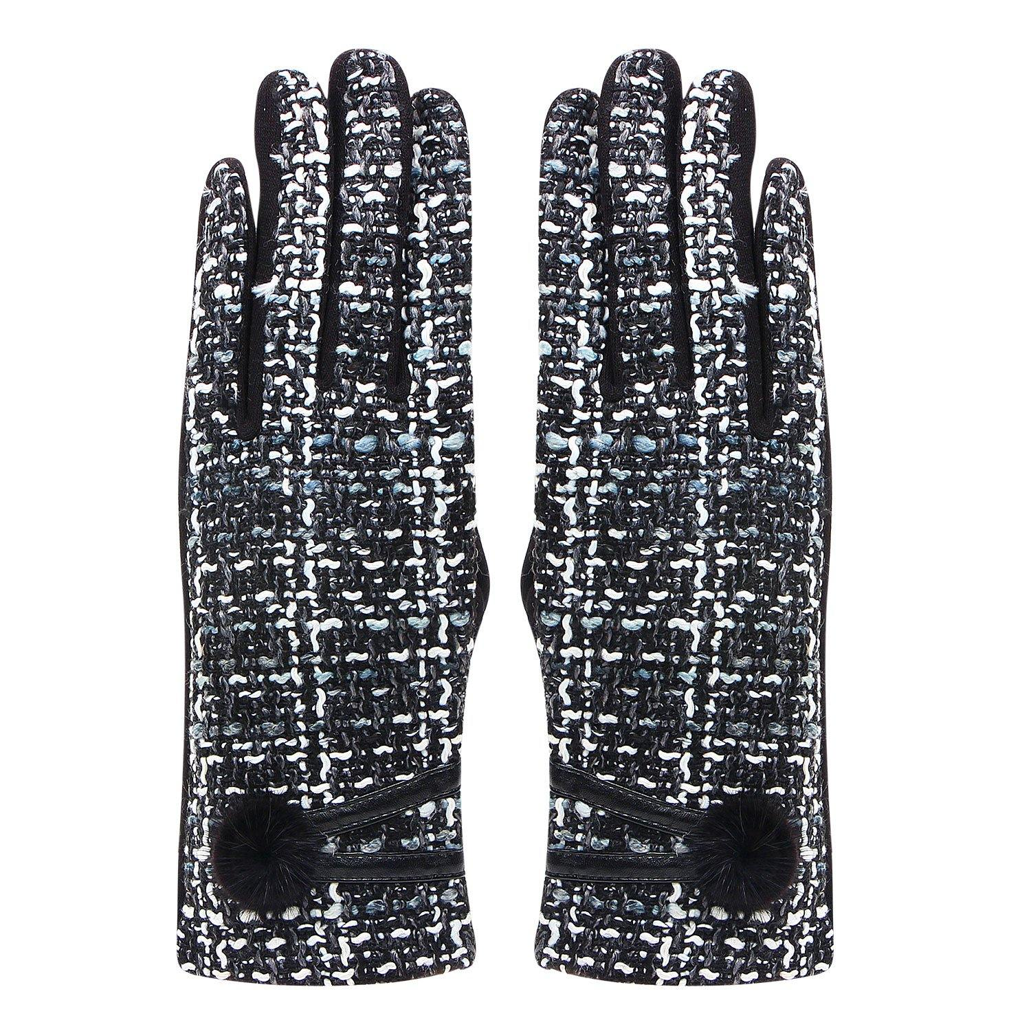 Designer Winter Gloves For Women - Black/Grey