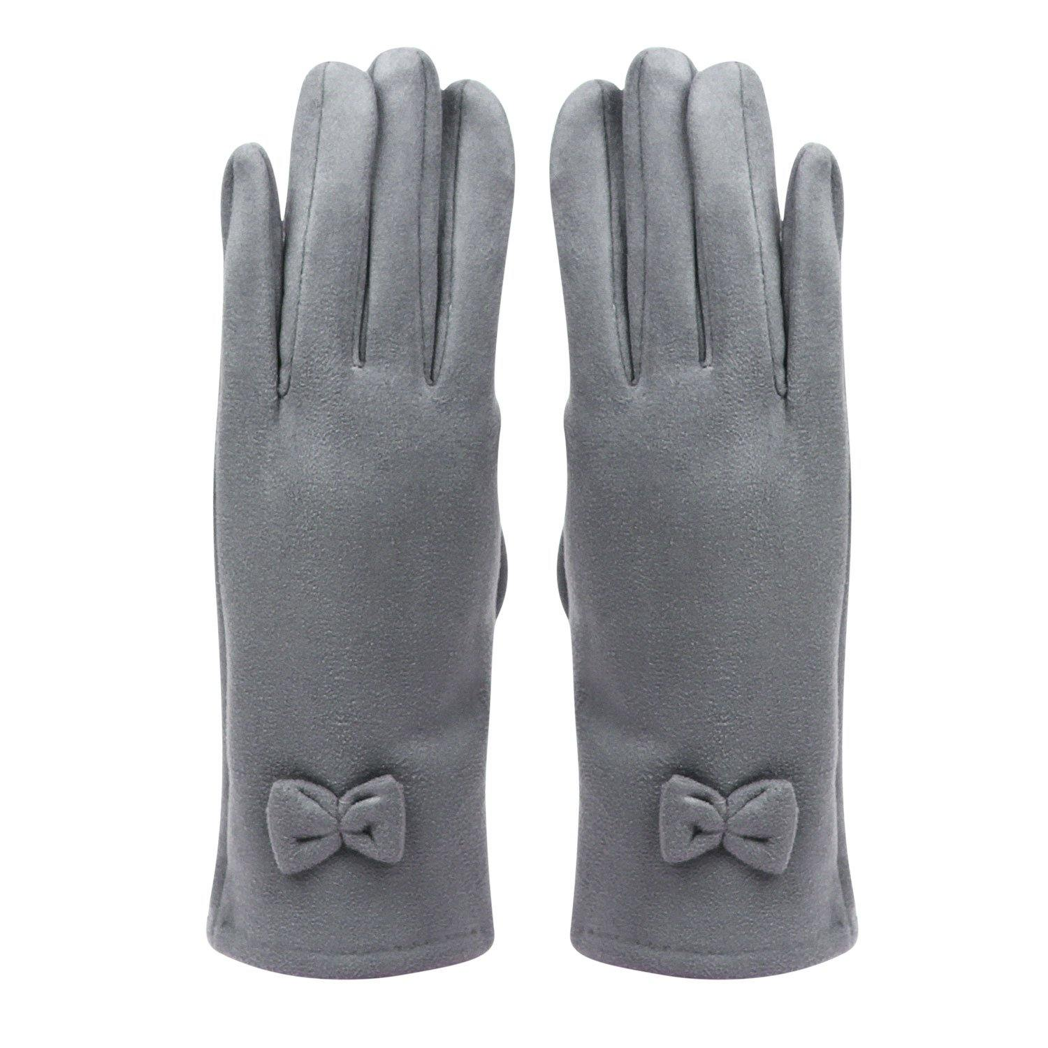 Fashionable Bow Pattern Winter Gloves for Women- Light Grey