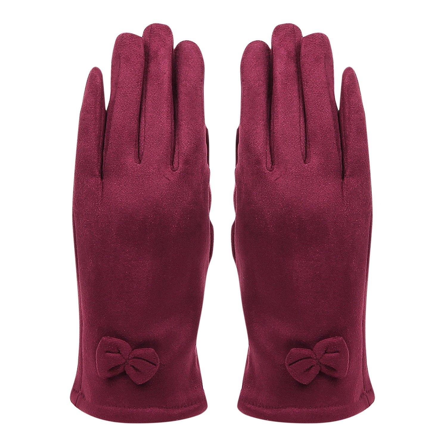 Fashionable Bow Pattern Winter Gloves For Women -  Maroon