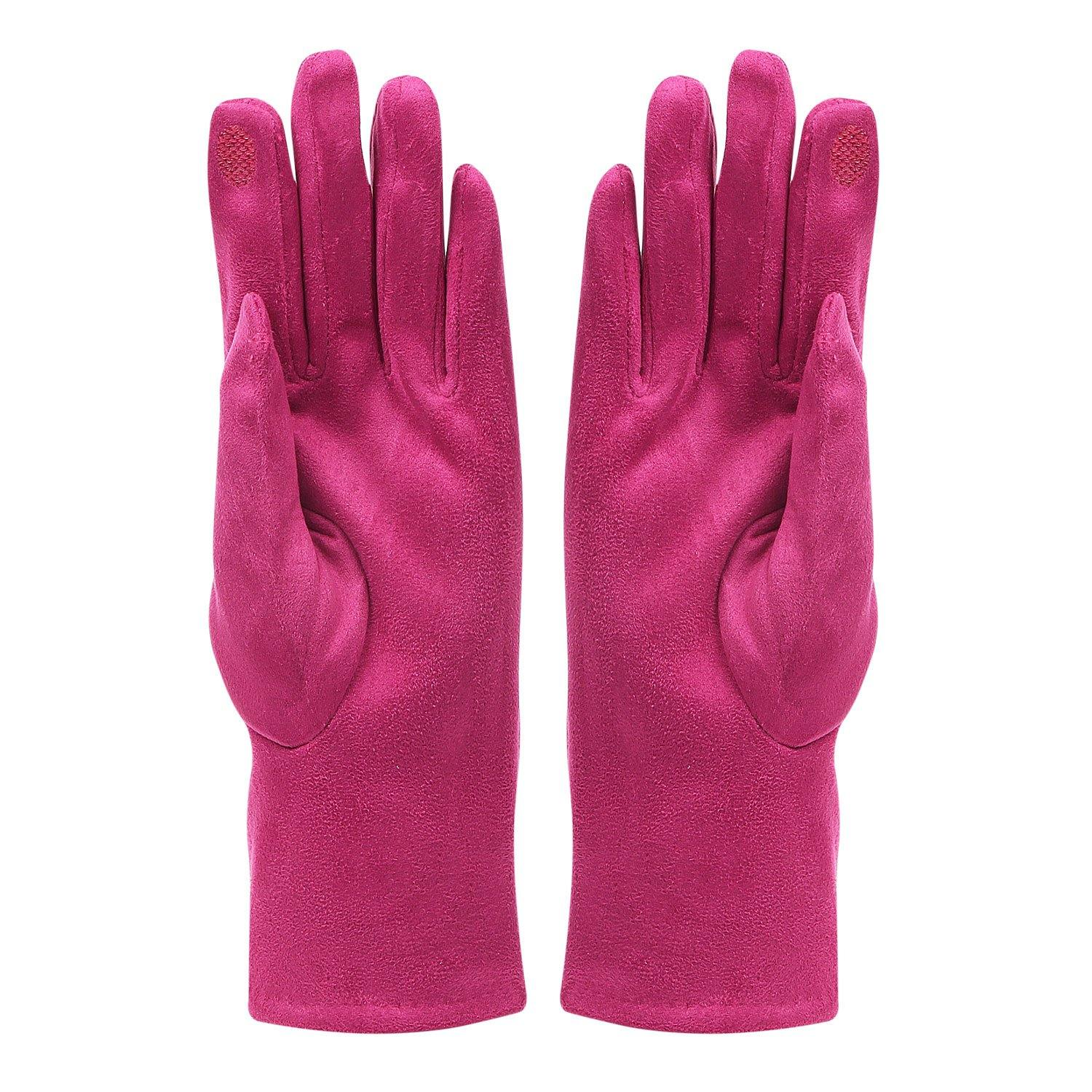 Fashionable Bow Pattern Winter Gloves for Women- Fuchsia