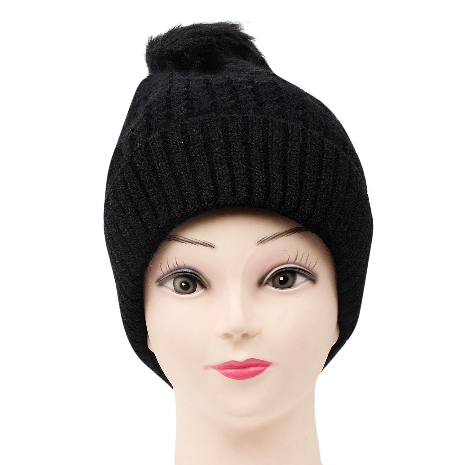 Woolen Cap with Pom Pom For Women