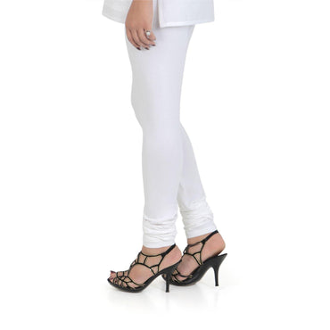 Vami Women's Cotton Stretchable Churidar Legging - White
