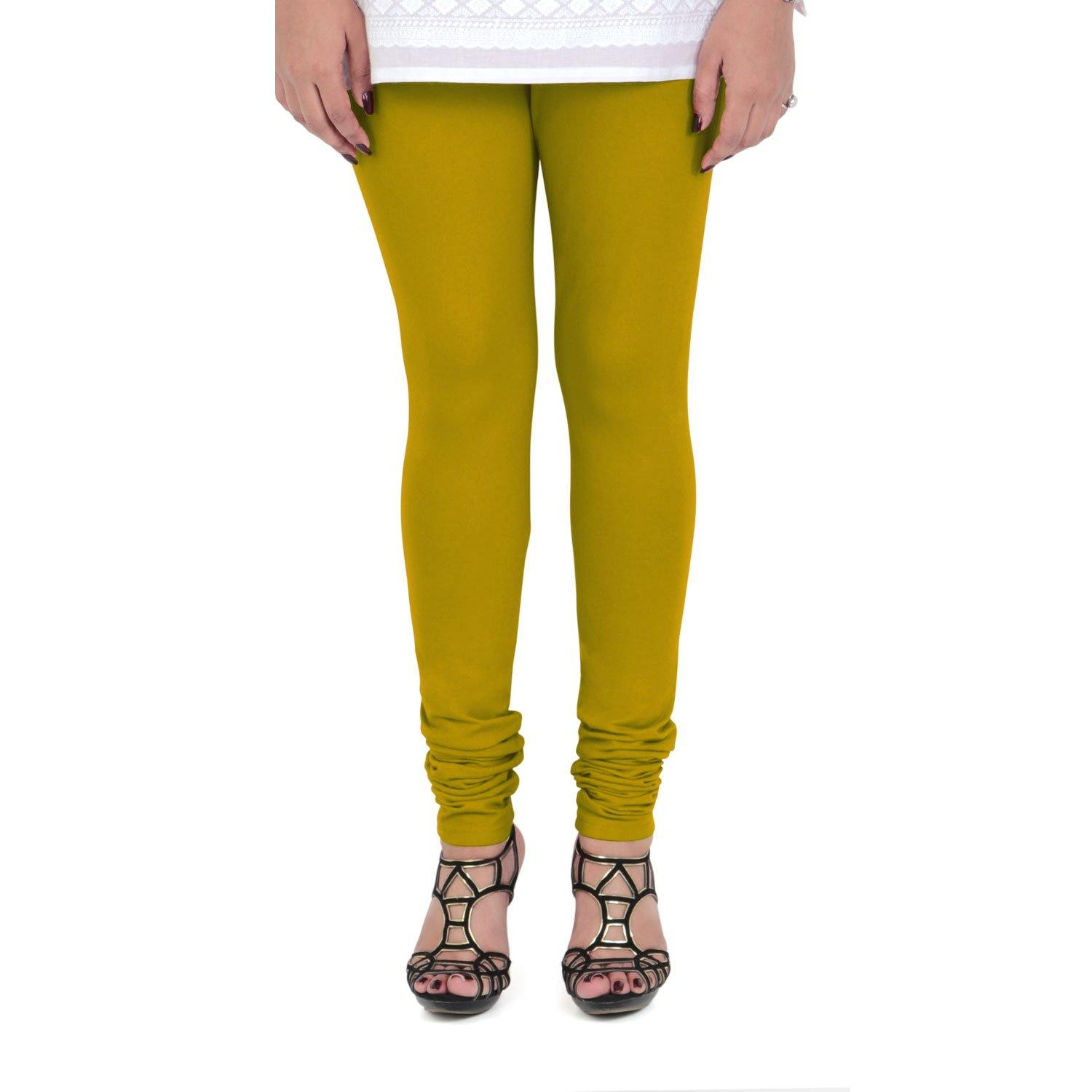 Vami Women's Cotton Stretchable Churidar Legging - Golden