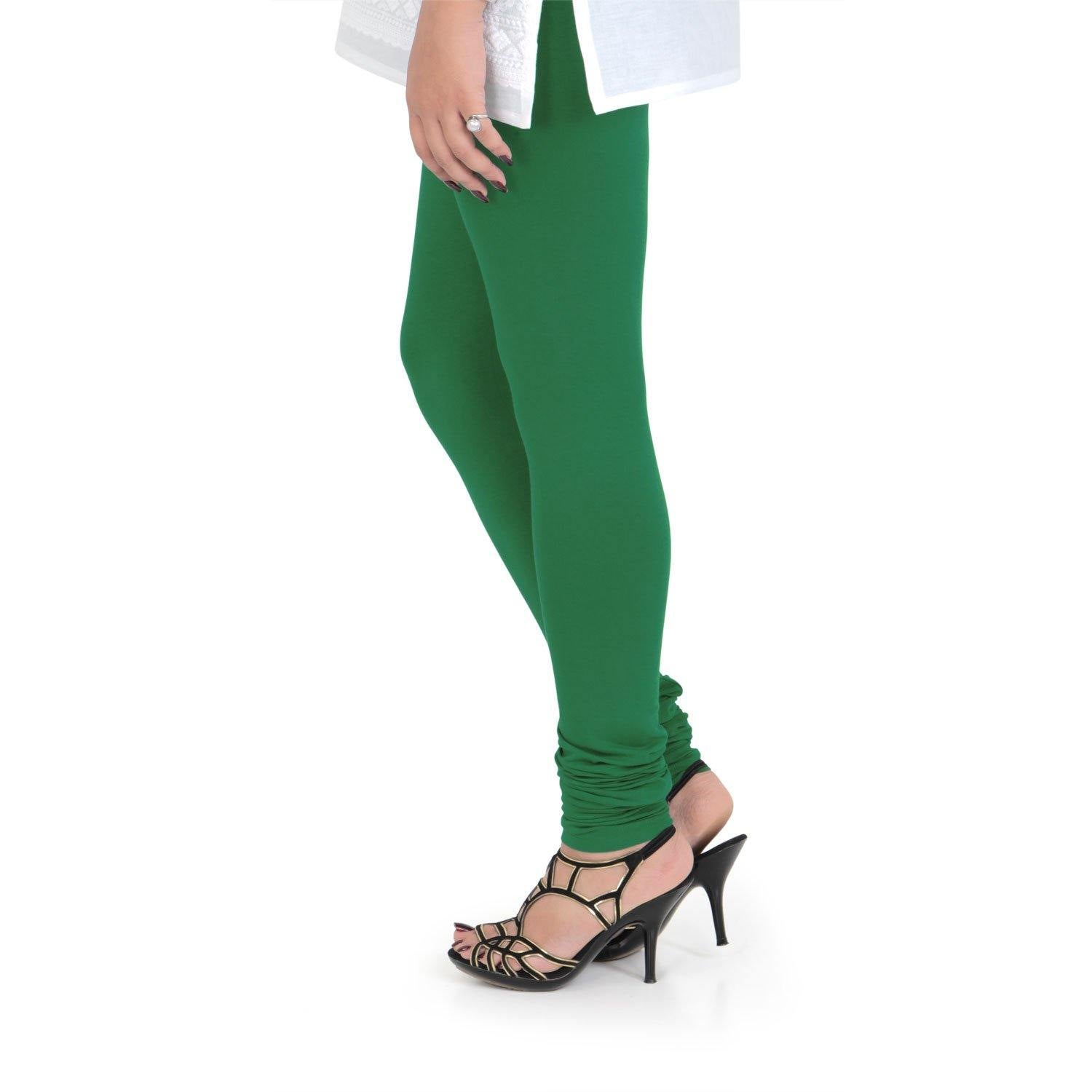 Vami Women's Cotton Stretchable Churidar Legging - Rich Green