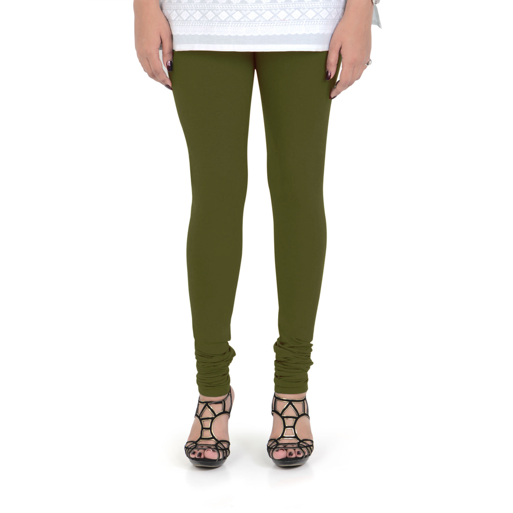 Vami Women's Cotton Stretchable Churidar Legging - FourLeaf Green