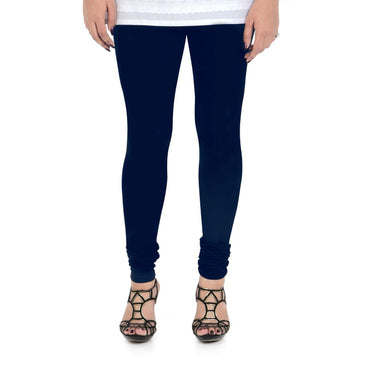 Vami Women's Cotton Stretchable Churidar Legging - Navy