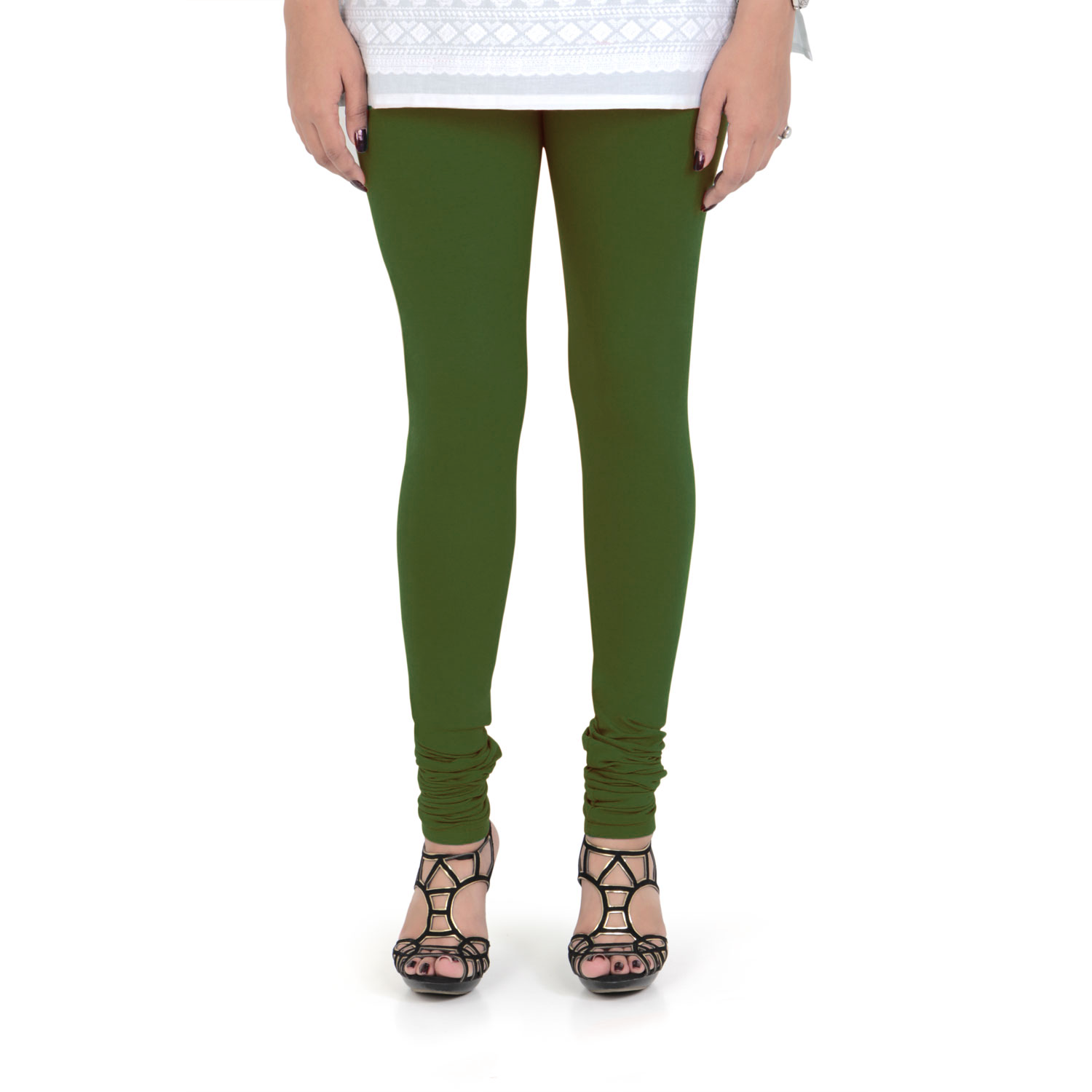 Vami Women's Cotton Stretchable Churidar Legging - Perry Green