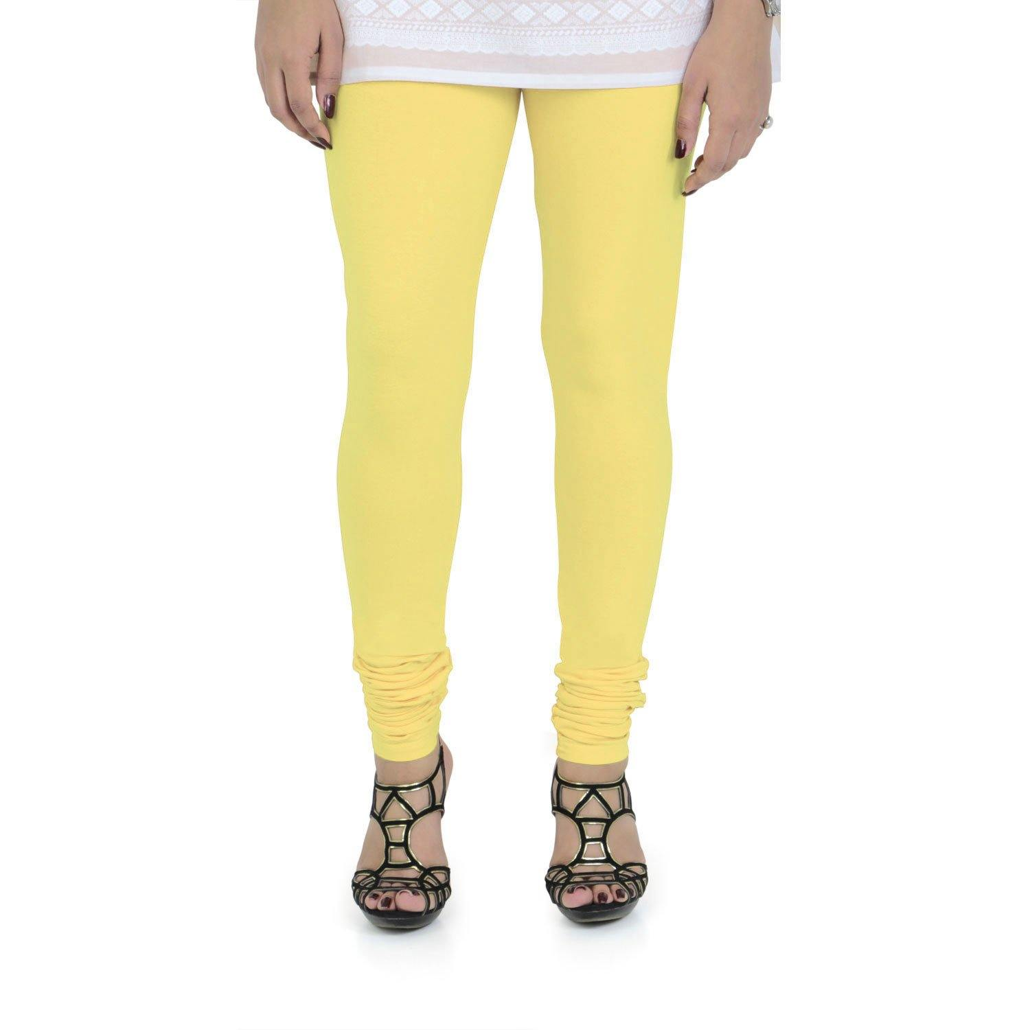Vami Women's Cotton Stretchable Churidar Legging - Butter Cup - Bonjour Group