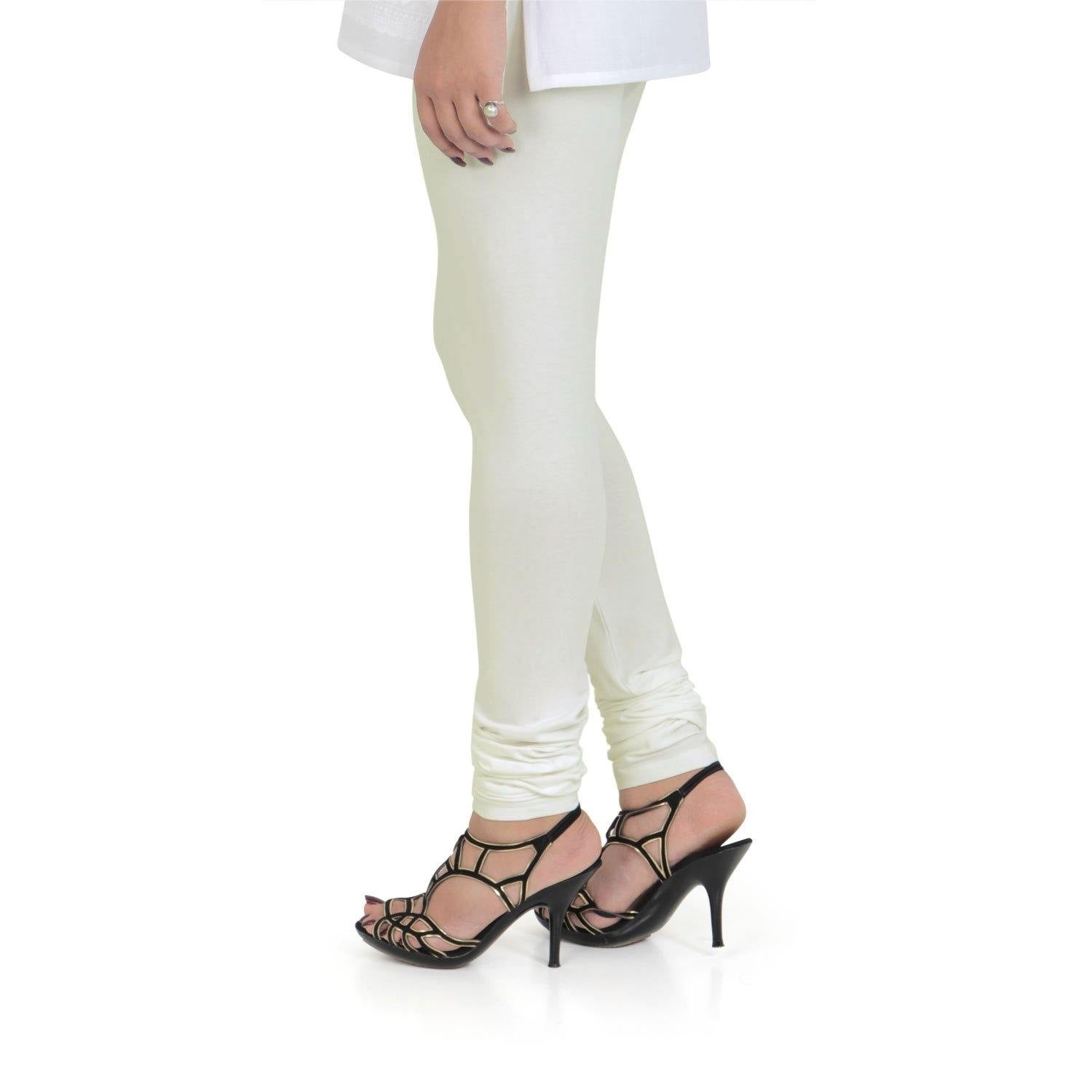 Vami Women's Cotton Stretchable Churidar Legging - Butter Milk