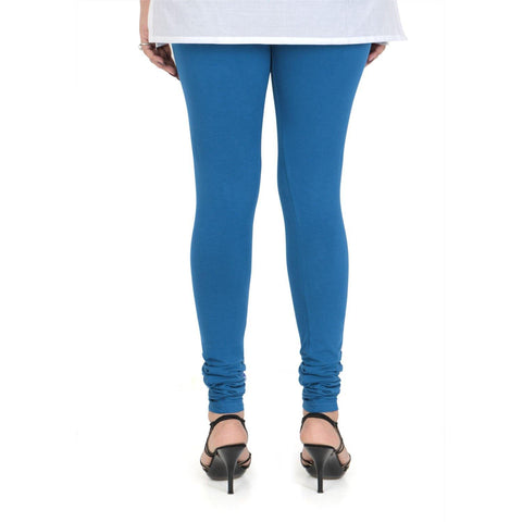 Vami Women's Cotton Stretchable Churidar Legging - Strong Blue