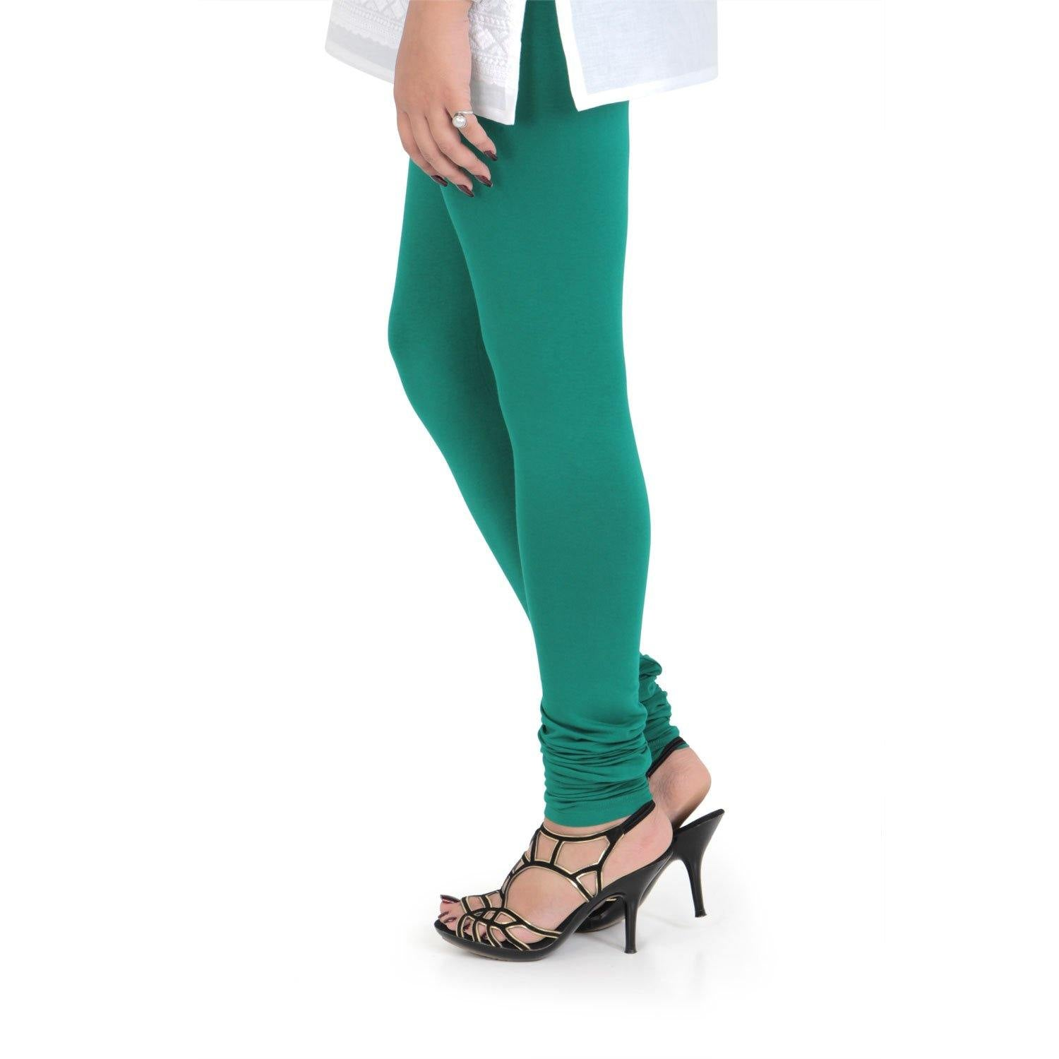 Vami Women's Cotton Stretchable Churidar Legging - Spectra Green