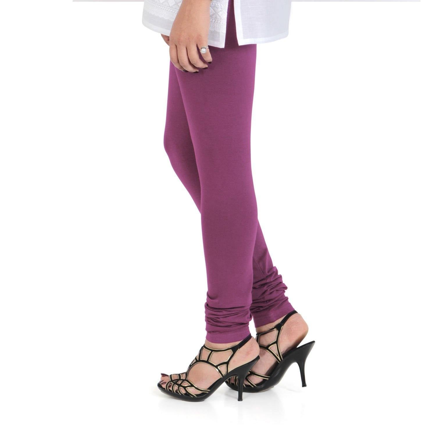 Vami Women's Cotton Stretchable Churidar Legging - Beetroot Purple