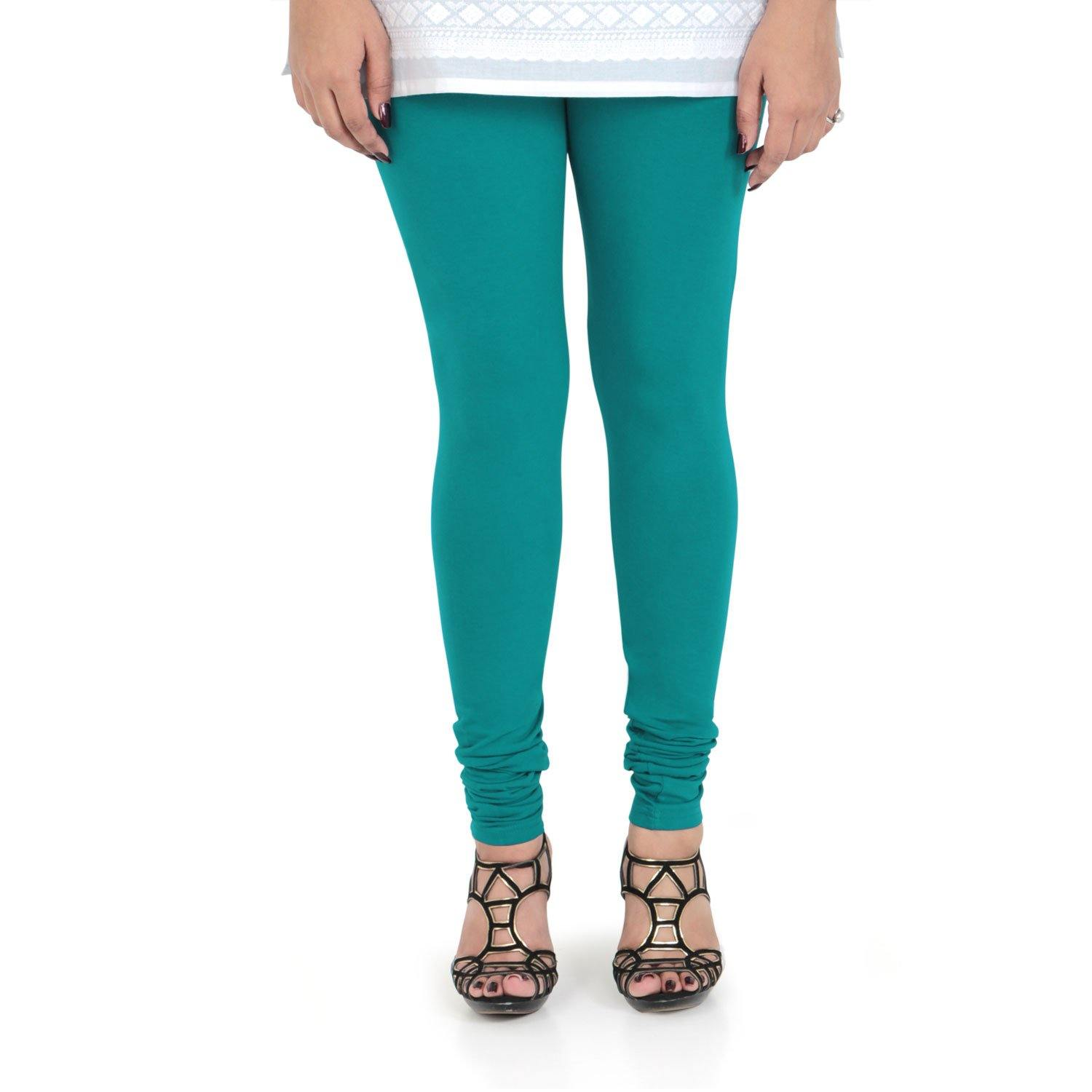 Vami Women's Cotton Stretchable Churidar Legging - Water Green