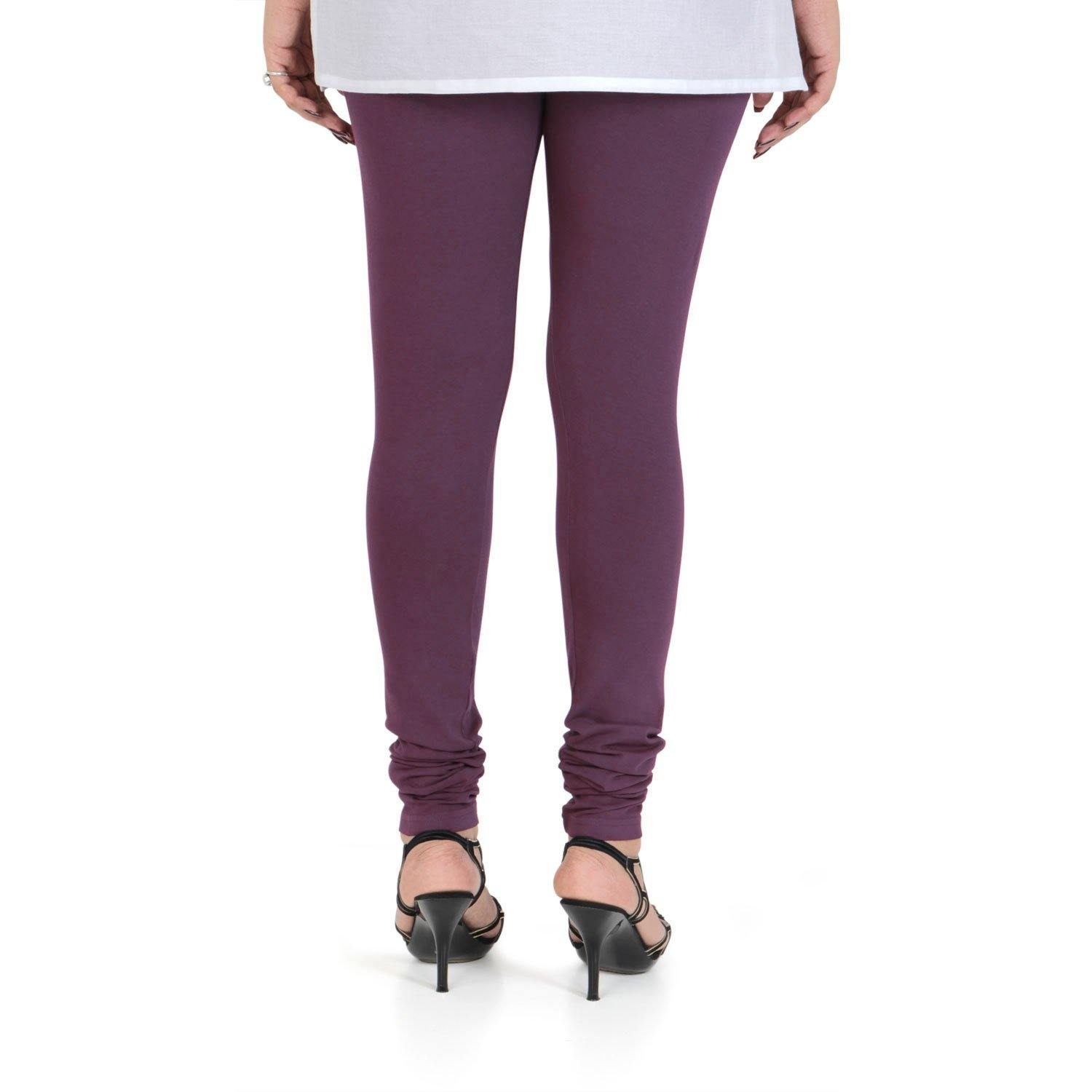 Vami Women's Cotton Stretchable Churidar Legging - BlackBerry Wine