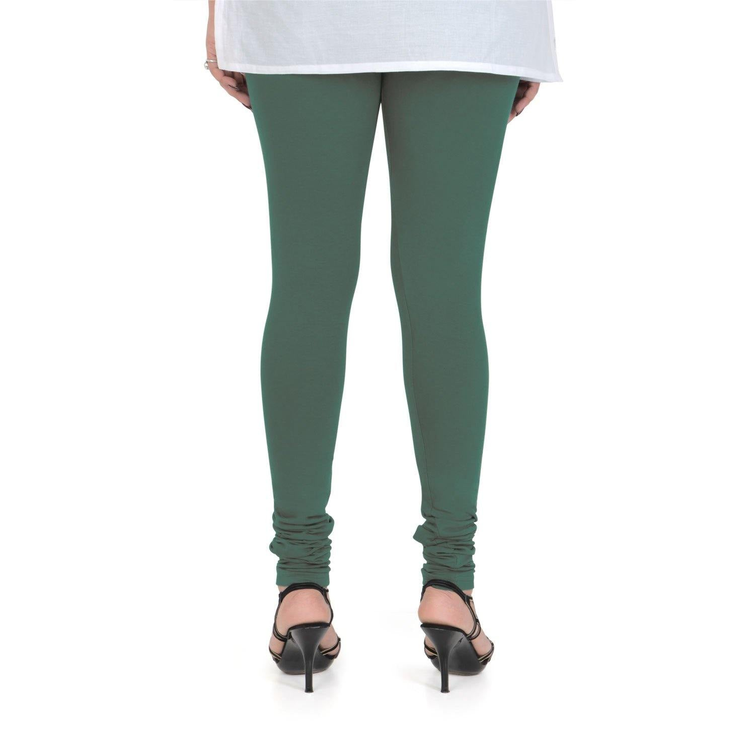 Vami Women's Cotton Stretchable Churidar Legging - Forest Green