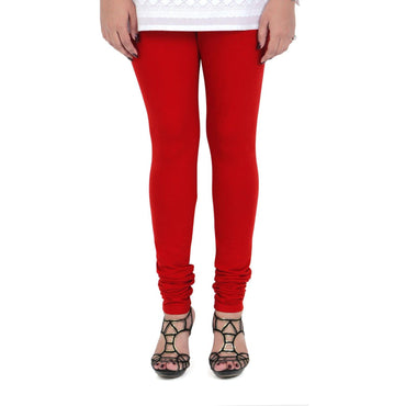Vami Women's Cotton Stretchable Churidar Legging - True Red