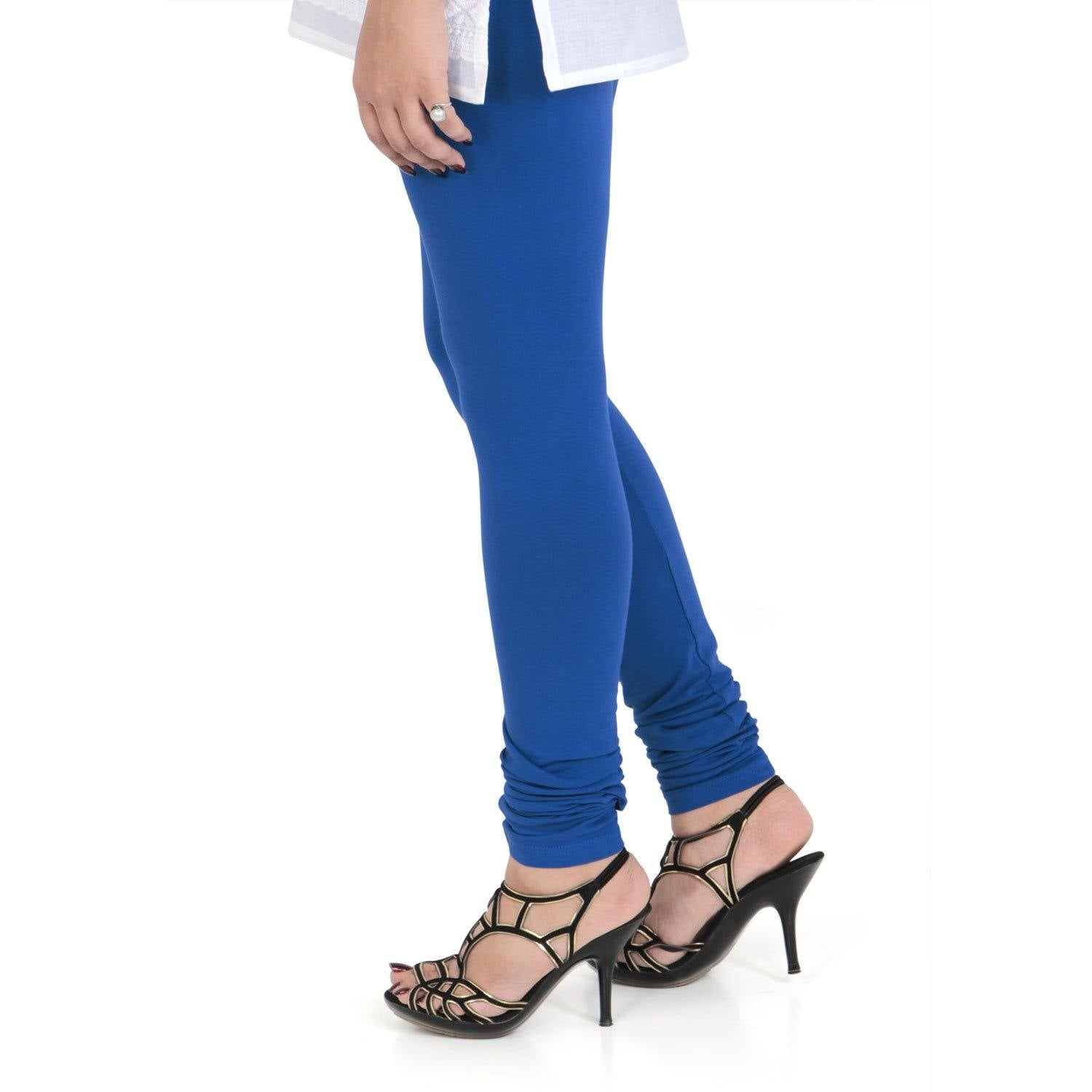 Vami Women's Cotton Stretchable Churidar Legging - True Blue