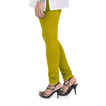 Vami Women's Cotton Stretchable Churidar Legging - Golden Palm
