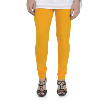 Vami Women's Cotton Stretchable Churidar Legging - Golden Glow