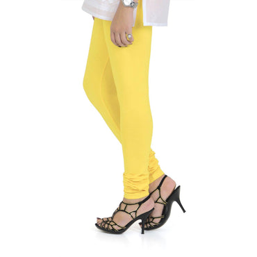 Vami Women's Cotton Stretchable Churidar Legging - Empire Yellow