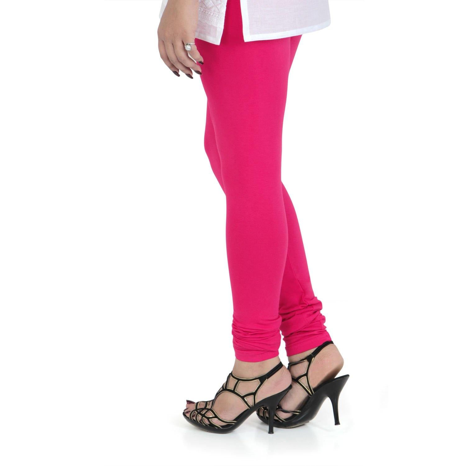 Vami Women's Cotton Stretchable Churidar Legging - Electro Pink