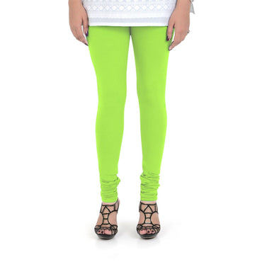 Vami Women's Cotton Stretchable Churidar Legging - Shocking Lime