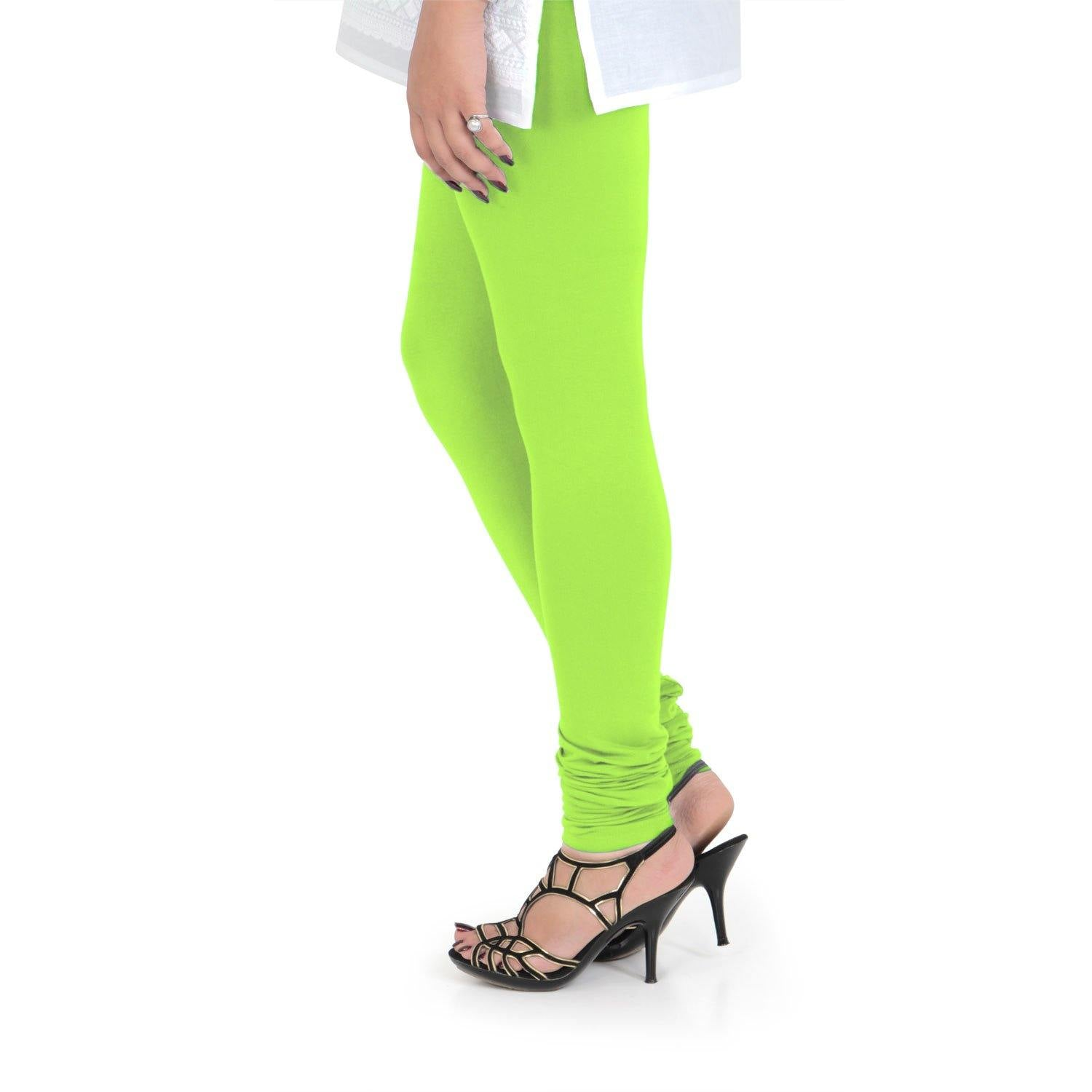 Vami Women's Cotton Stretchable Churidar Legging - Shocking Lime - Bonjour Group
